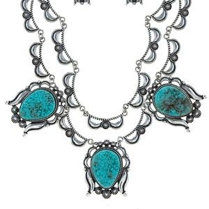 Southwest concho turquoise stones silver necklace